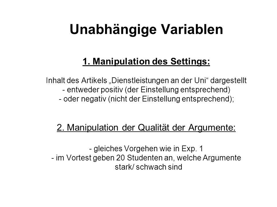 Unabhängige Variablen 1