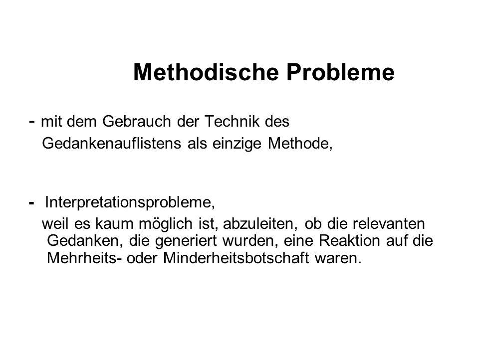 Methodische Probleme - mit dem Gebrauch der Technik des
