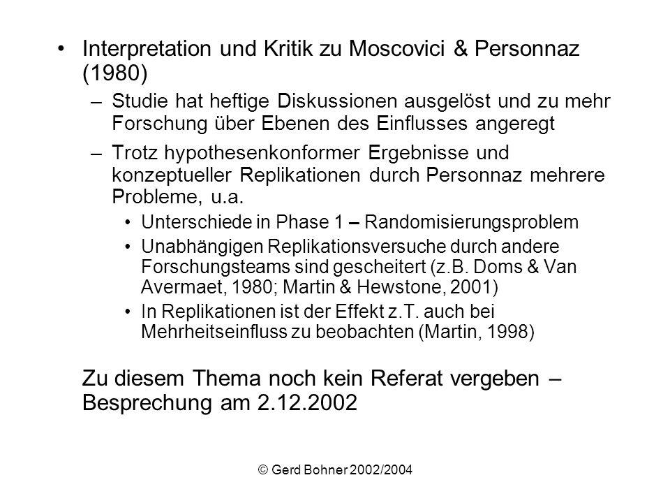 Interpretation und Kritik zu Moscovici & Personnaz (1980)