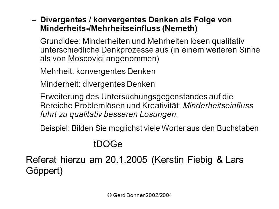 Referat hierzu am 20.1.2005 (Kerstin Fiebig & Lars Göppert)