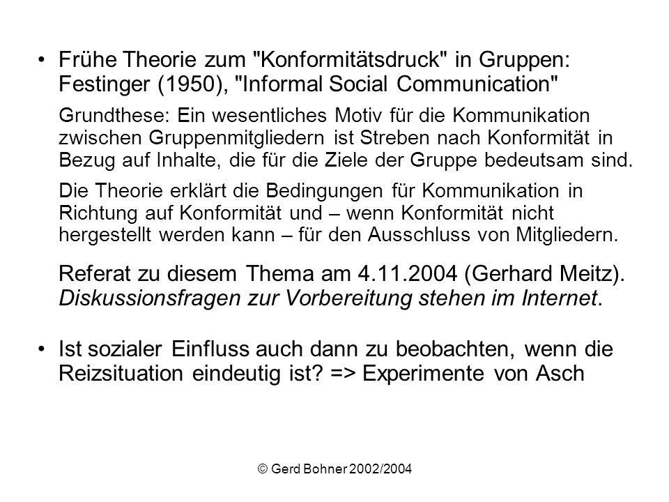 Frühe Theorie zum Konformitätsdruck in Gruppen: