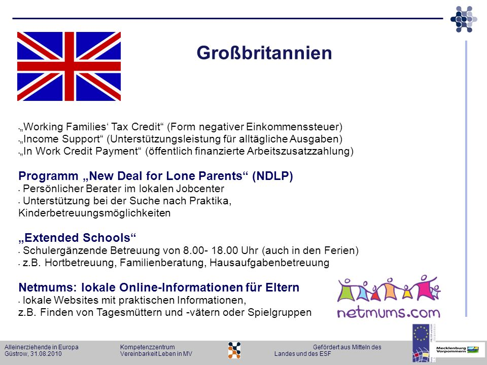 "Großbritannien Programm ""New Deal for Lone Parents (NDLP)"