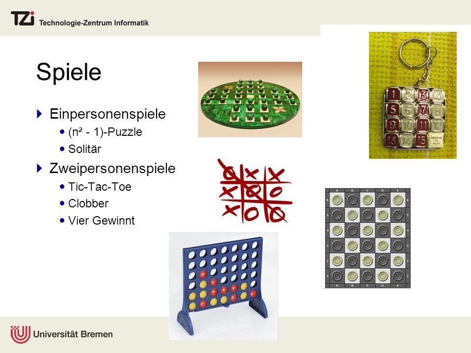 Spiele Einpersonenspiele Zweipersonenspiele (n² - 1)-Puzzle Solitär