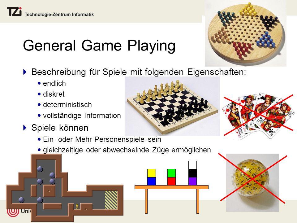 General Game Playing Beschreibung für Spiele mit folgenden Eigenschaften: endlich. diskret. deterministisch.