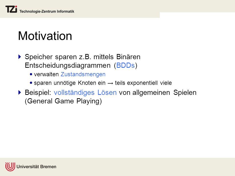 Motivation Speicher sparen z.B. mittels Binären Entscheidungsdiagrammen (BDDs) verwalten Zustandsmengen.
