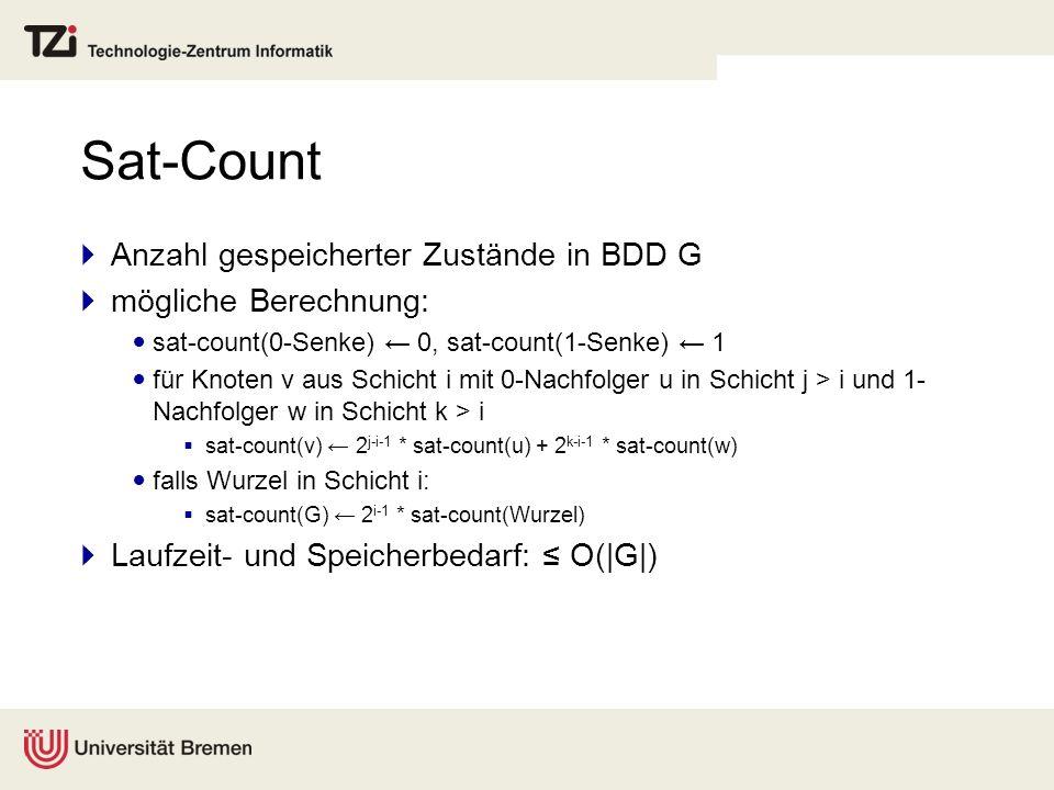 Sat-Count Anzahl gespeicherter Zustände in BDD G mögliche Berechnung: