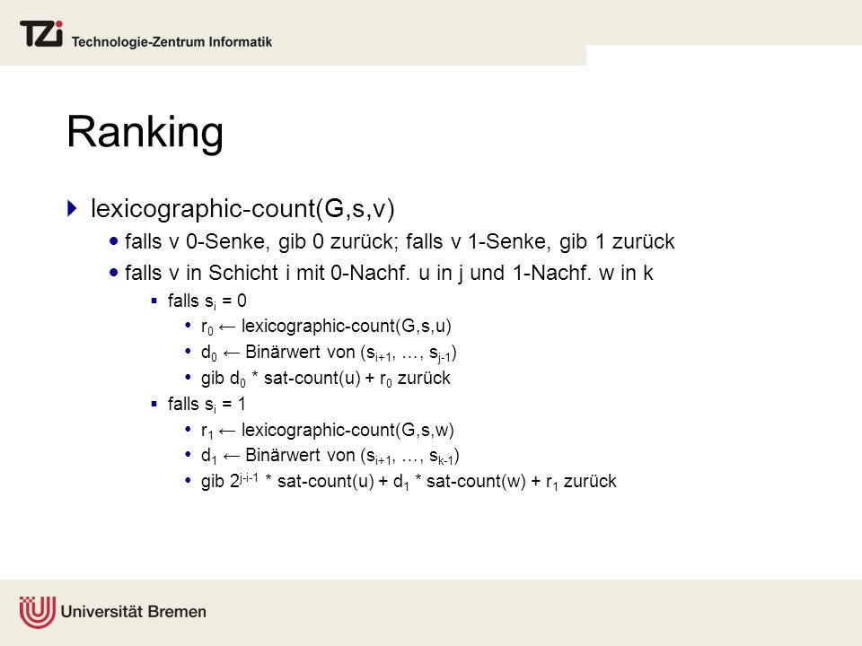 Ranking lexicographic-count(G,s,v)