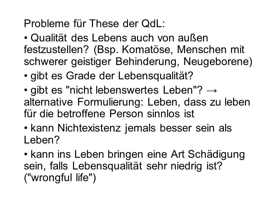 Probleme für These der QdL: