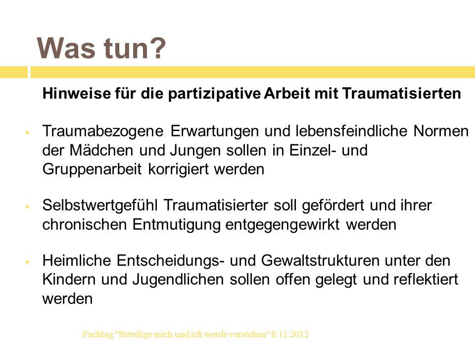 Was tun Hinweise für die partizipative Arbeit mit Traumatisierten