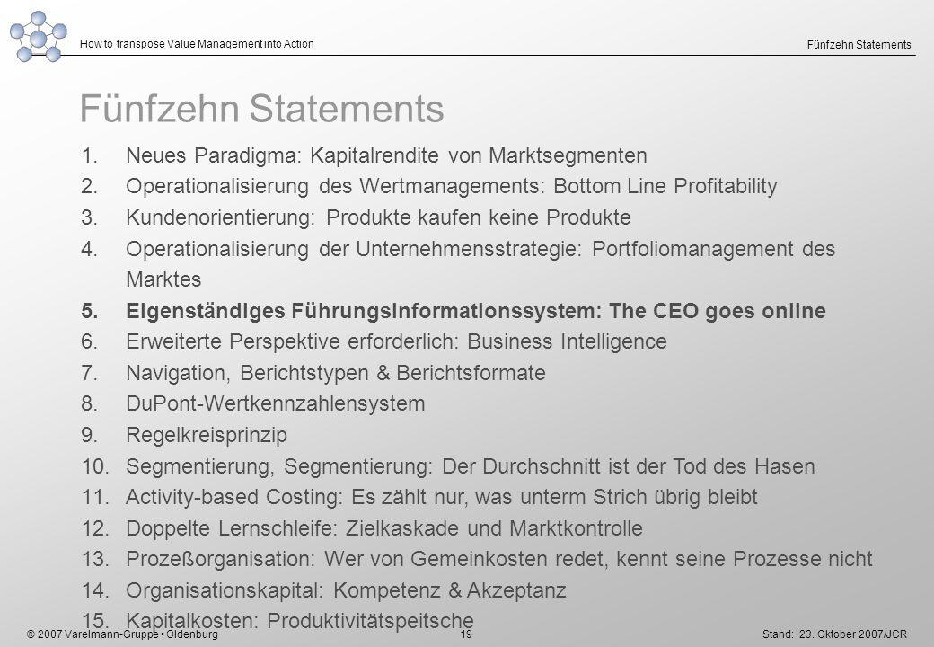 Fünfzehn Statements Neues Paradigma: Kapitalrendite von Marktsegmenten