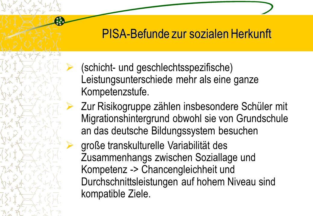 PISA-Befunde zur sozialen Herkunft
