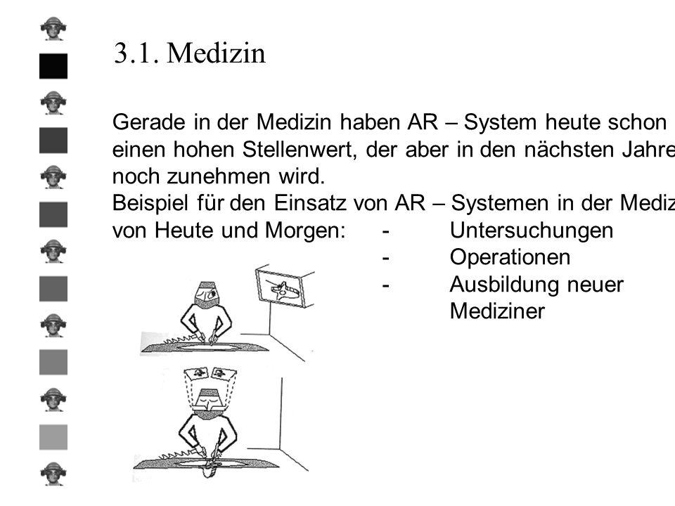 3.1. Medizin Gerade in der Medizin haben AR – System heute schon