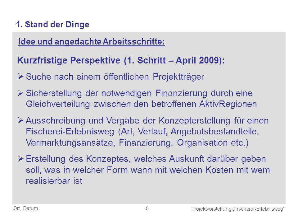 Kurzfristige Perspektive (1. Schritt – April 2009):