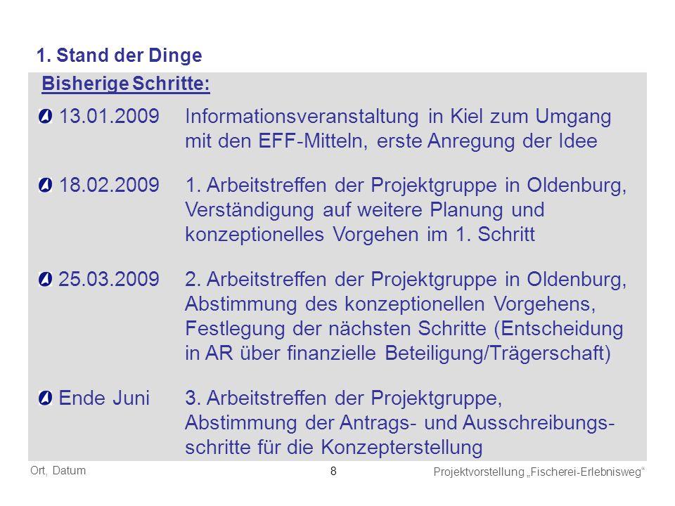 1. Stand der Dinge Bisherige Schritte: 13.01.2009 Informationsveranstaltung in Kiel zum Umgang mit den EFF-Mitteln, erste Anregung der Idee.