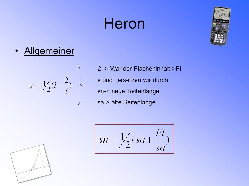 Heron Allgemeiner 2 -> War der Flächeninhalt->Fl