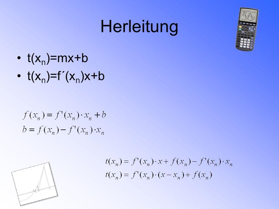 Herleitung t(xn)=mx+b t(xn)=f´(xn)x+b