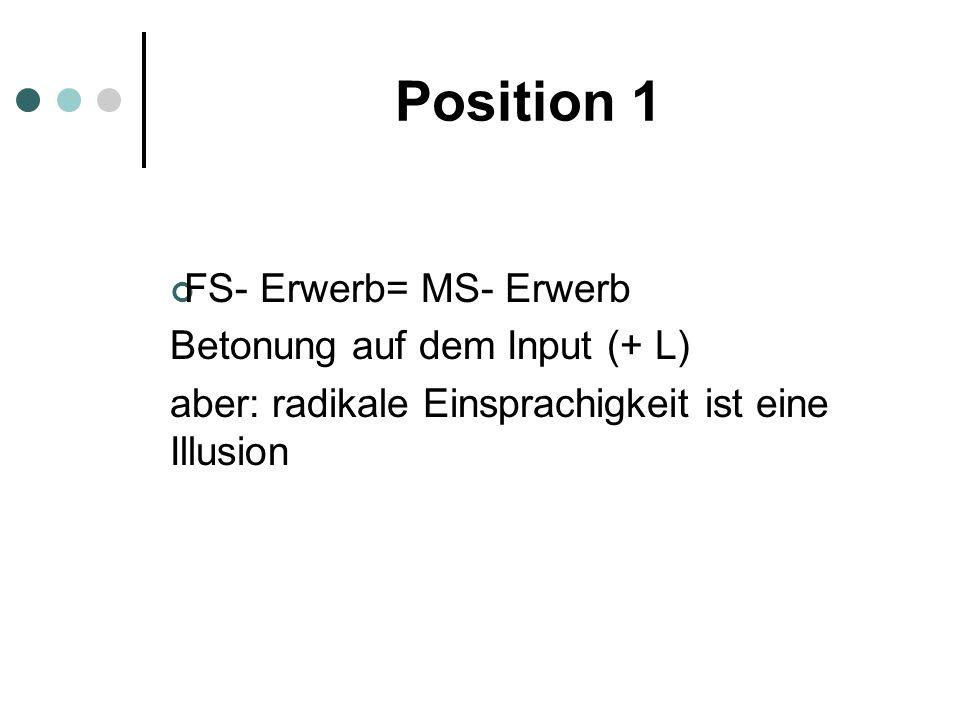 Position 1 FS- Erwerb= MS- Erwerb Betonung auf dem Input (+ L)