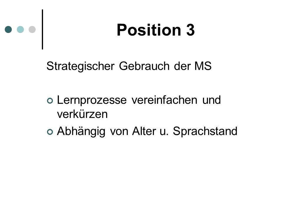 Position 3 Strategischer Gebrauch der MS