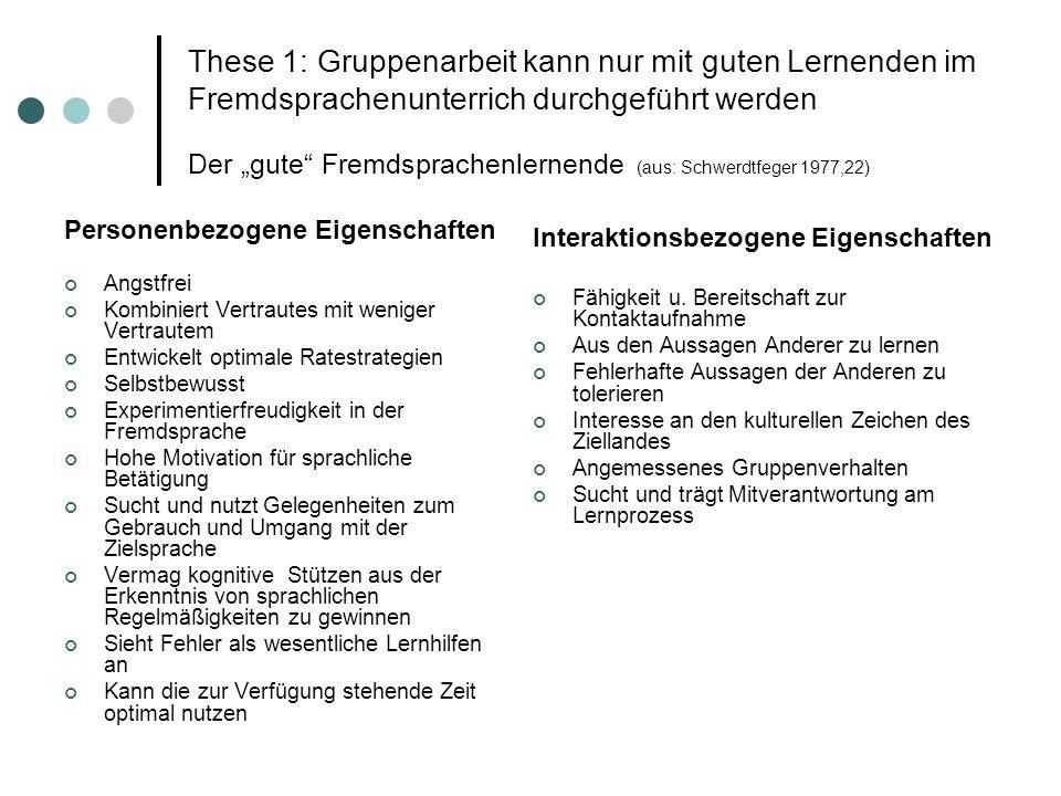"""These 1: Gruppenarbeit kann nur mit guten Lernenden im Fremdsprachenunterrich durchgeführt werden Der """"gute Fremdsprachenlernende (aus: Schwerdtfeger 1977,22)"""