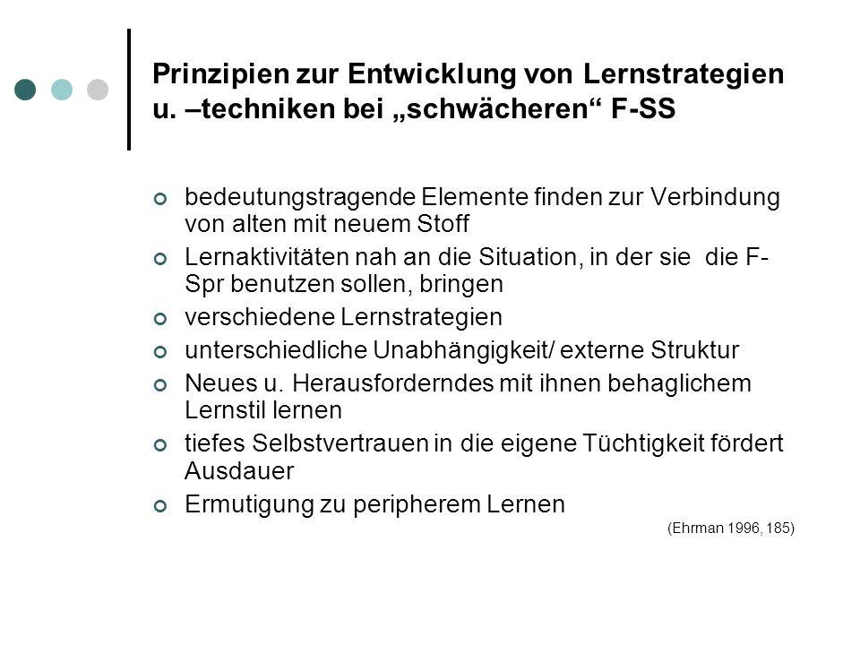 Prinzipien zur Entwicklung von Lernstrategien u
