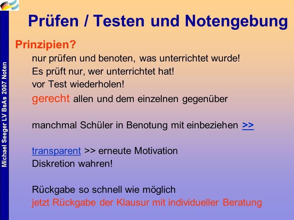 Prüfen / Testen und Notengebung