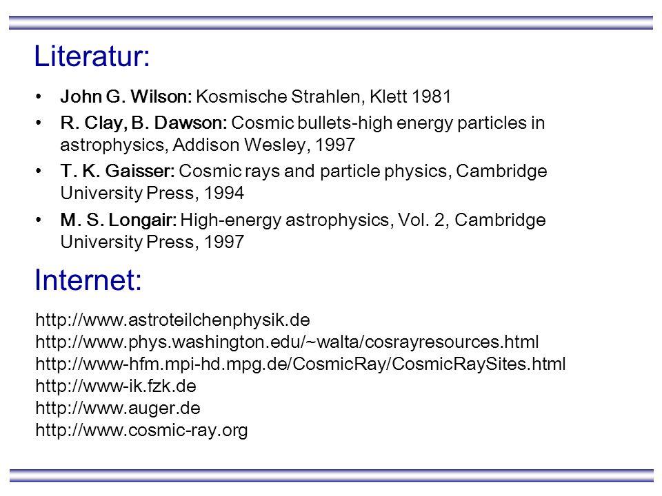 Literatur: Internet: John G. Wilson: Kosmische Strahlen, Klett 1981