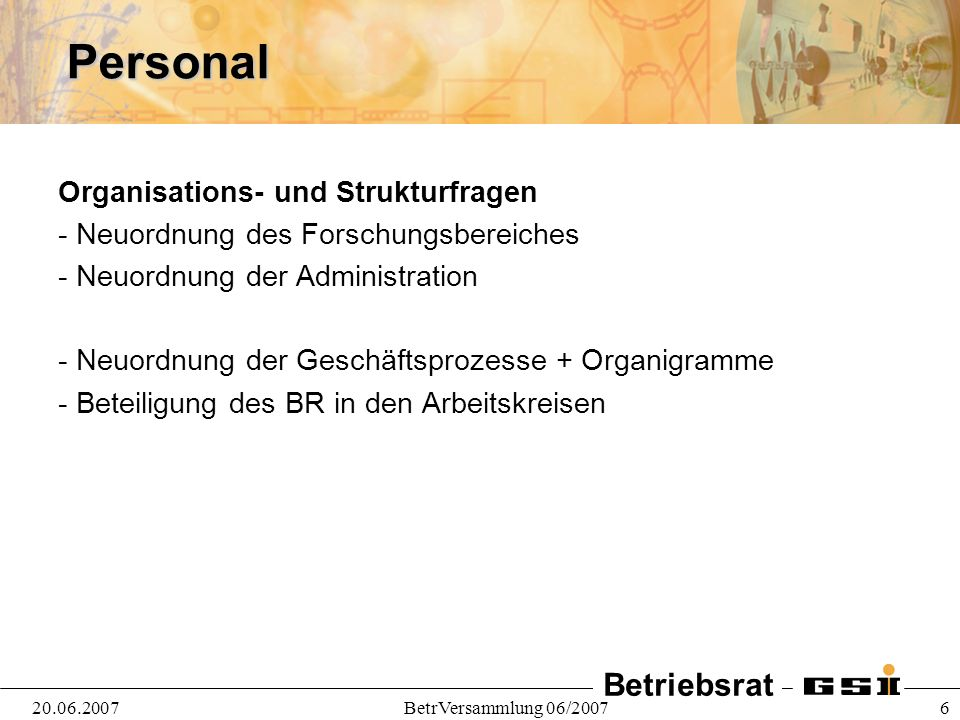 Personal Organisations- und Strukturfragen