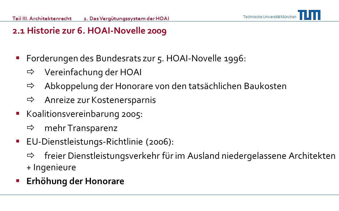 2.1 Historie zur 6. HOAI-Novelle 2009