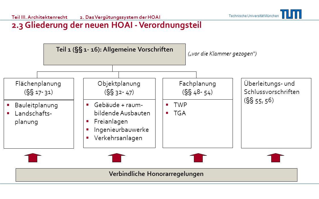 2.3 Gliederung der neuen HOAI - Verordnungsteil