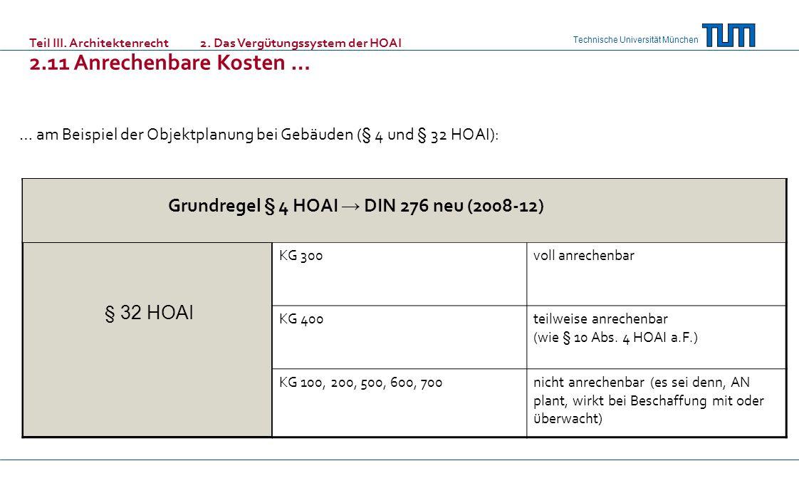 Grundregel § 4 HOAI → DIN 276 neu (2008-12)