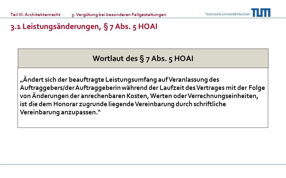 3.1 Leistungsänderungen, § 7 Abs. 5 HOAI