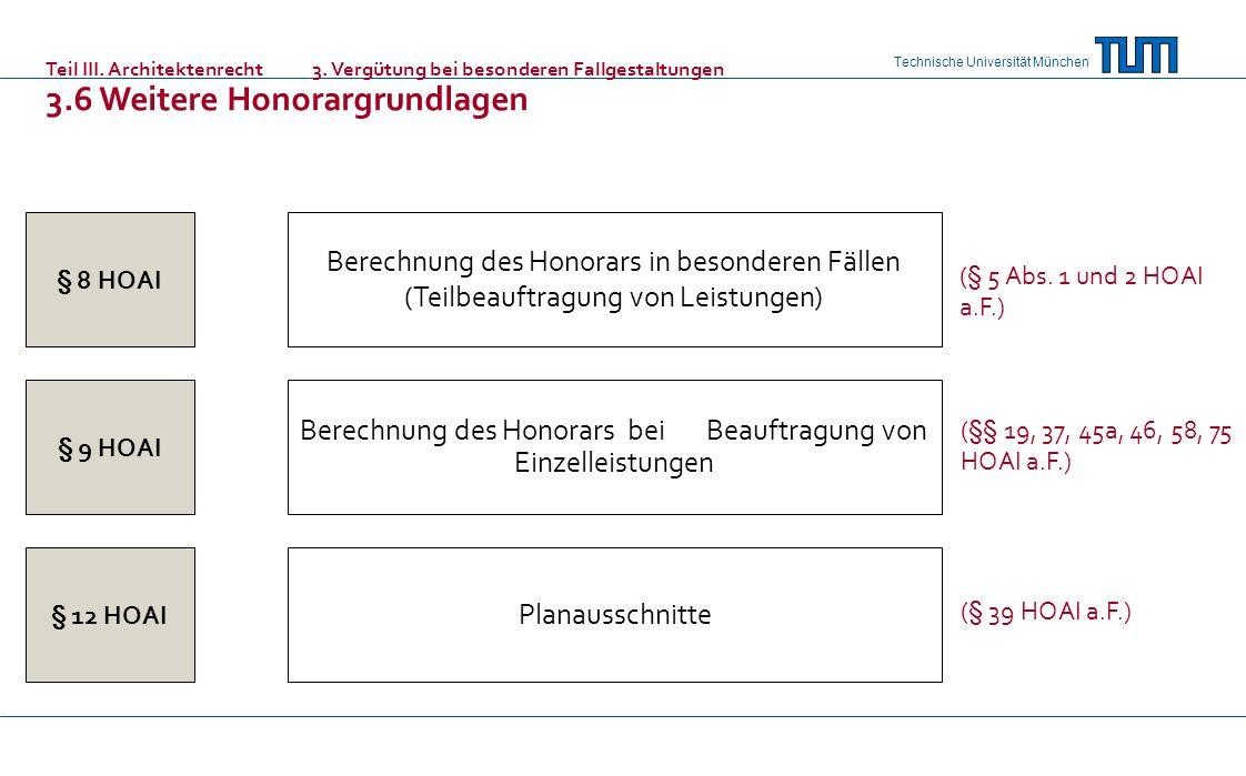 Berechnung des Honorars bei Beauftragung von Einzelleistungen