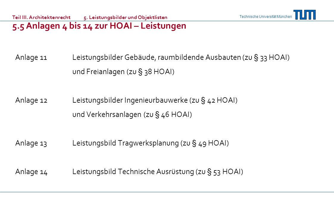 5.5 Anlagen 4 bis 14 zur HOAI – Leistungen