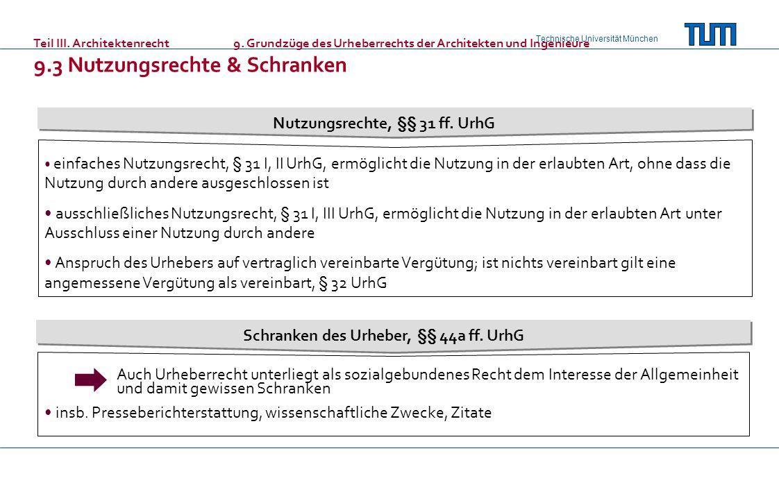 Nutzungsrechte, §§ 31 ff. UrhG Schranken des Urheber, §§ 44a ff. UrhG