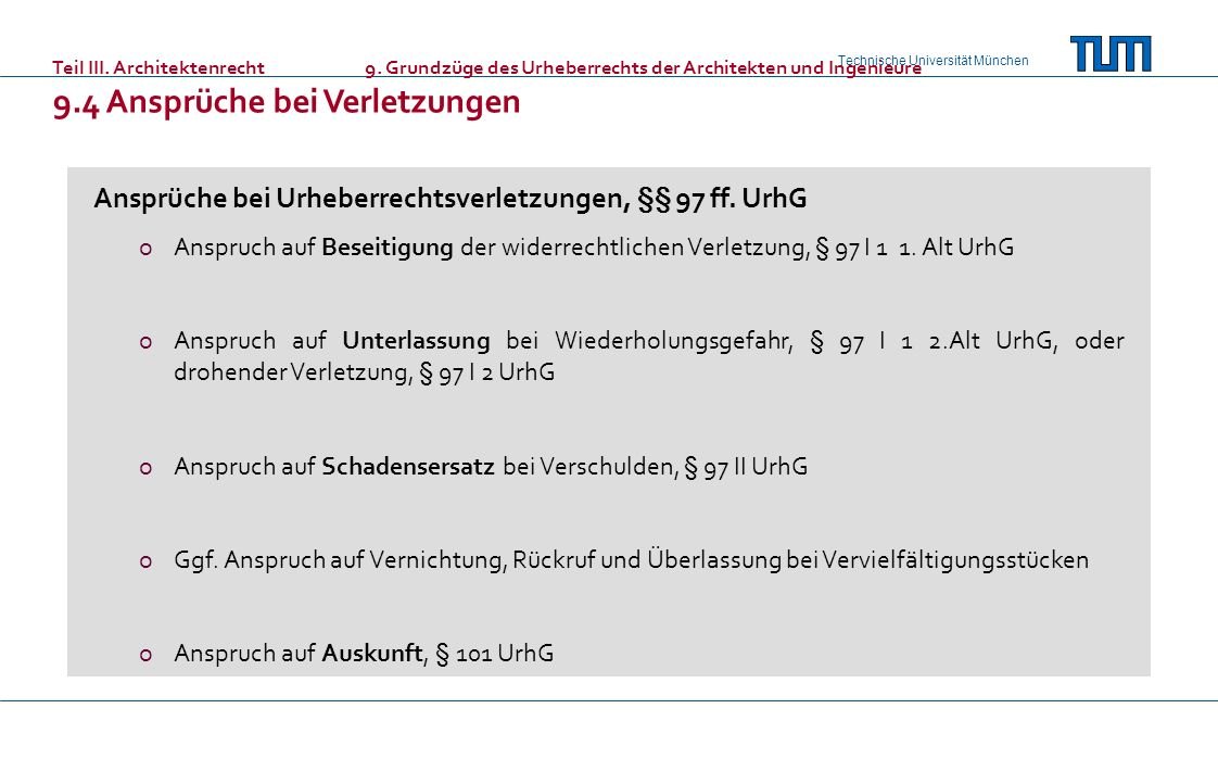 Ansprüche bei Urheberrechtsverletzungen, §§ 97 ff. UrhG