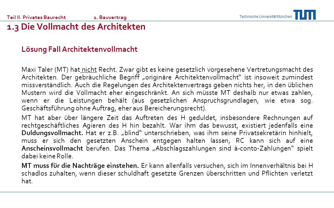 Lösung Fall Architektenvollmacht