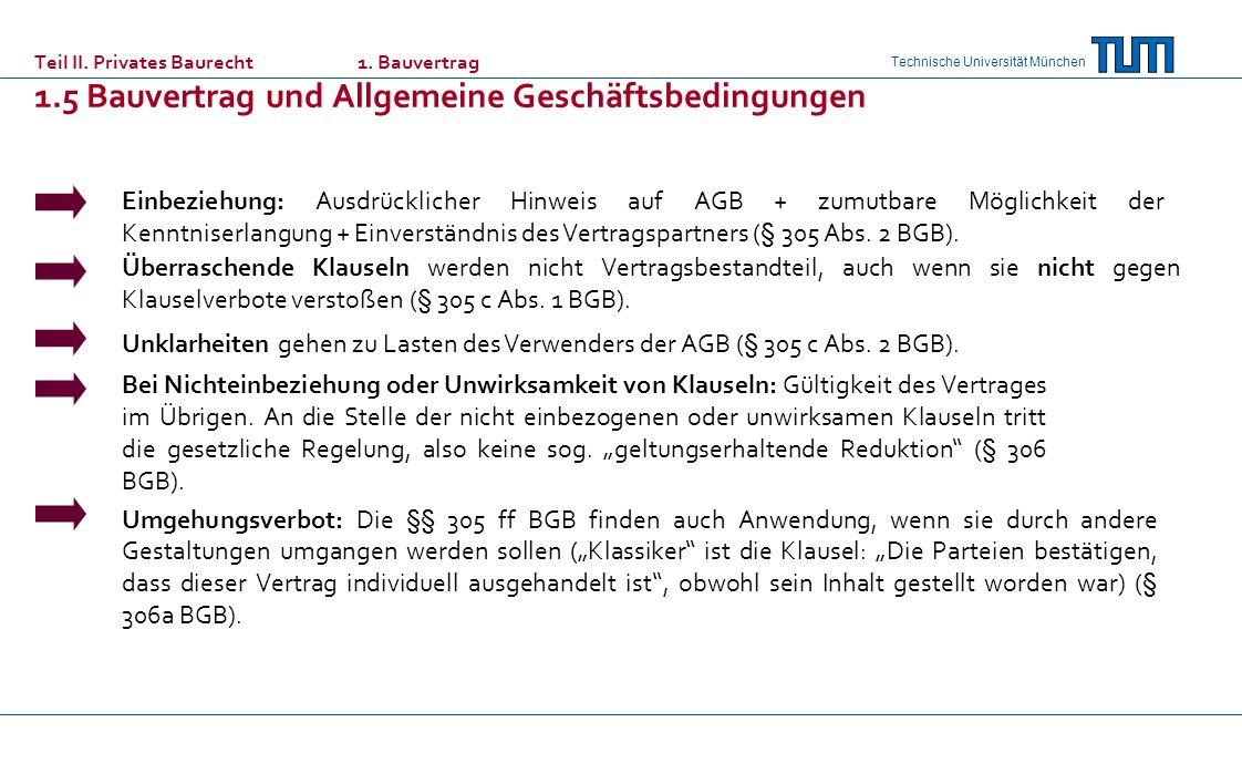 Teil II. Privates Baurecht. 1. Bauvertrag 1