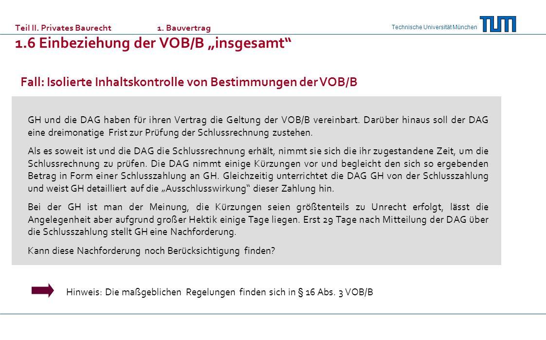 Fall: Isolierte Inhaltskontrolle von Bestimmungen der VOB/B