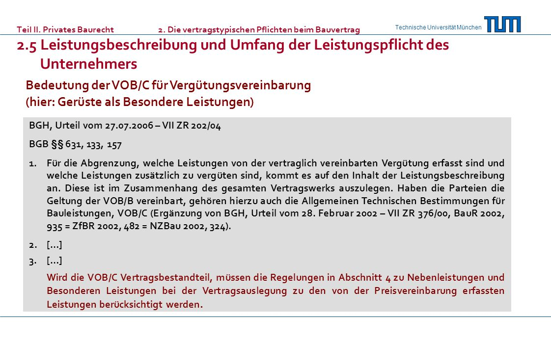 Bedeutung der VOB/C für Vergütungsvereinbarung