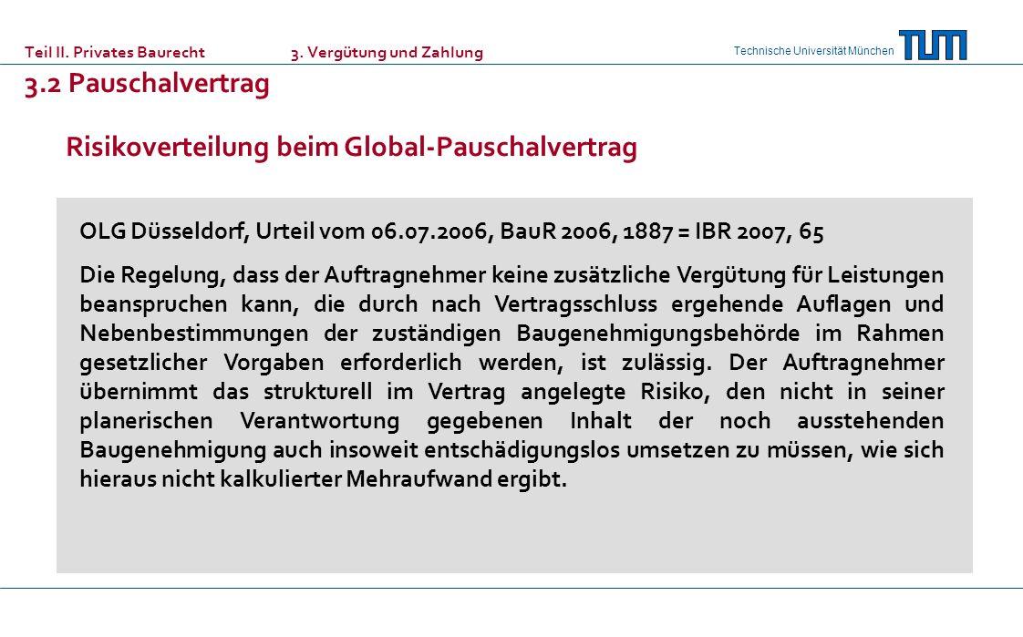 Risikoverteilung beim Global-Pauschalvertrag