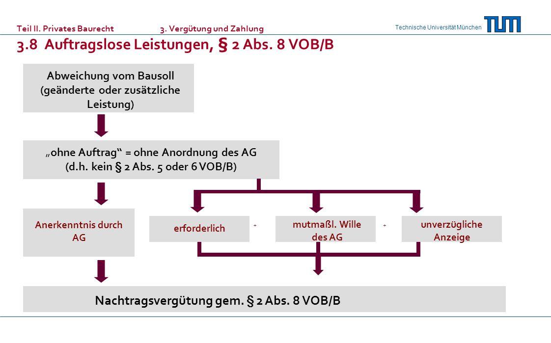 Nachtragsvergütung gem. § 2 Abs. 8 VOB/B