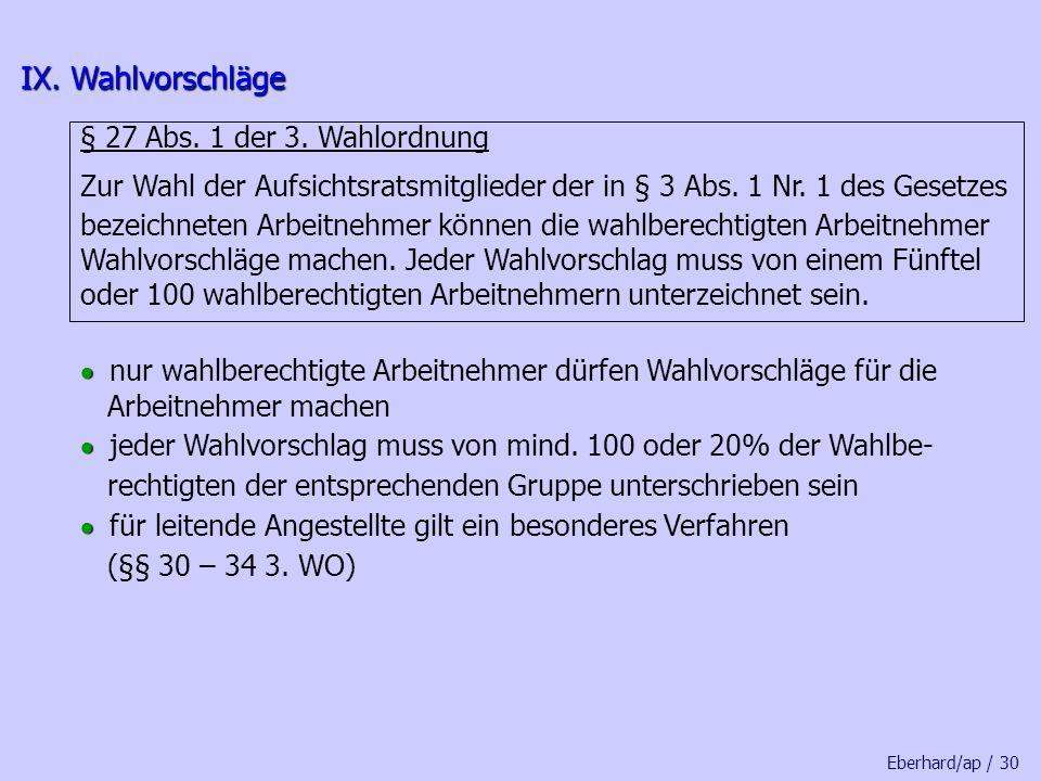 IX. Wahlvorschläge § 27 Abs. 1 der 3. Wahlordnung