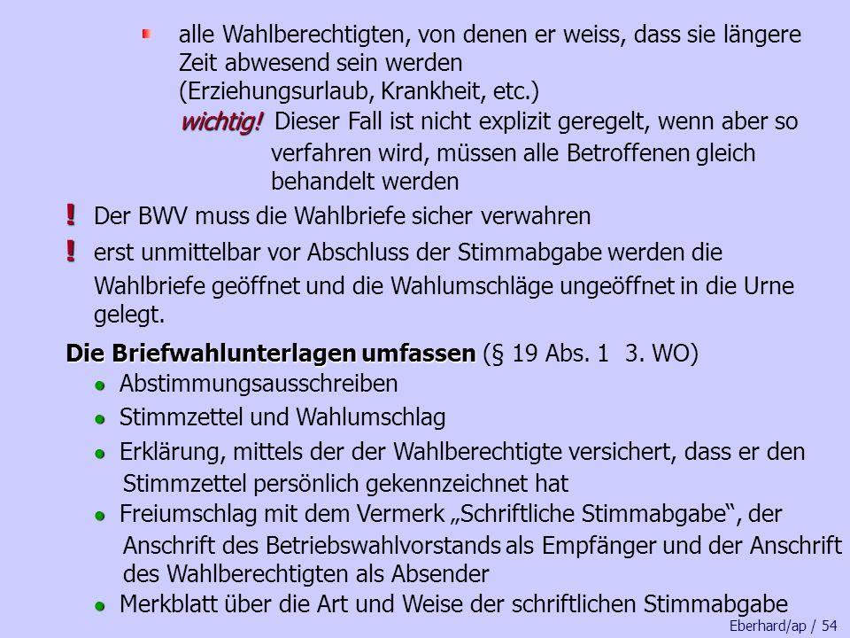 ! Der BWV muss die Wahlbriefe sicher verwahren
