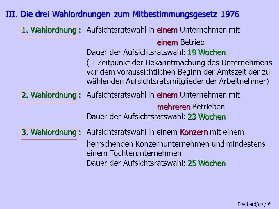 III. Die drei Wahlordnungen zum Mitbestimmungsgesetz 1976