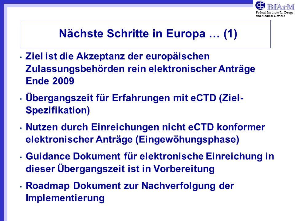 Nächste Schritte in Europa … (1)