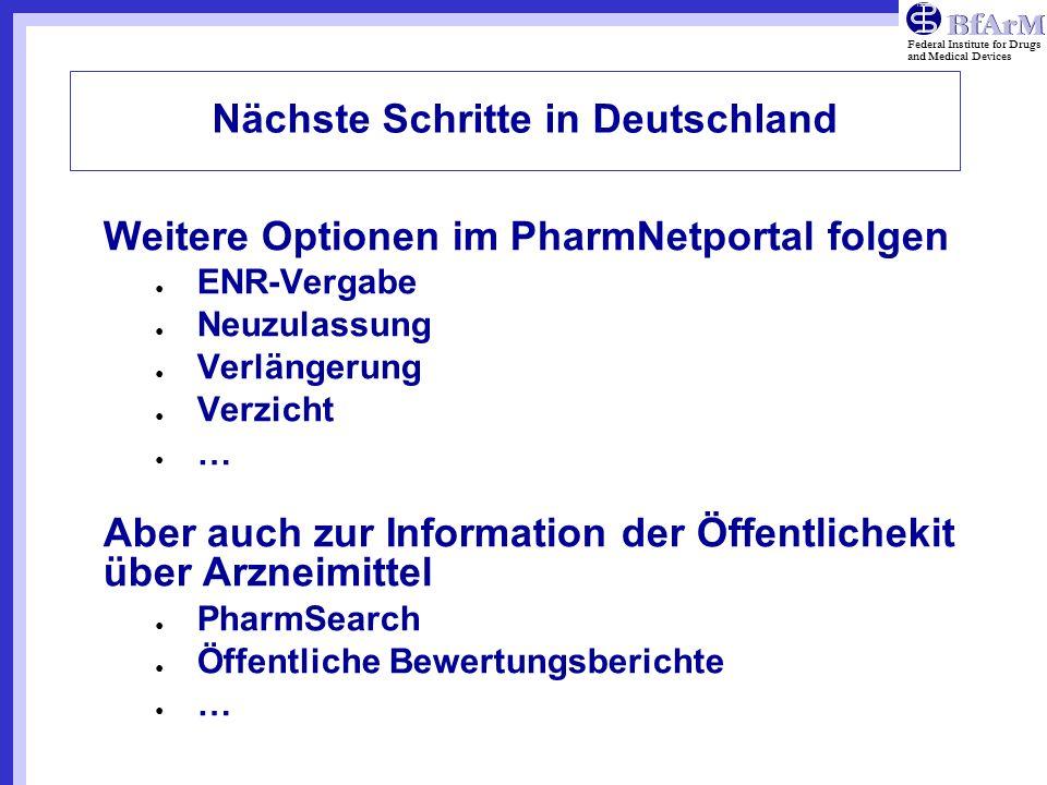 Nächste Schritte in Deutschland