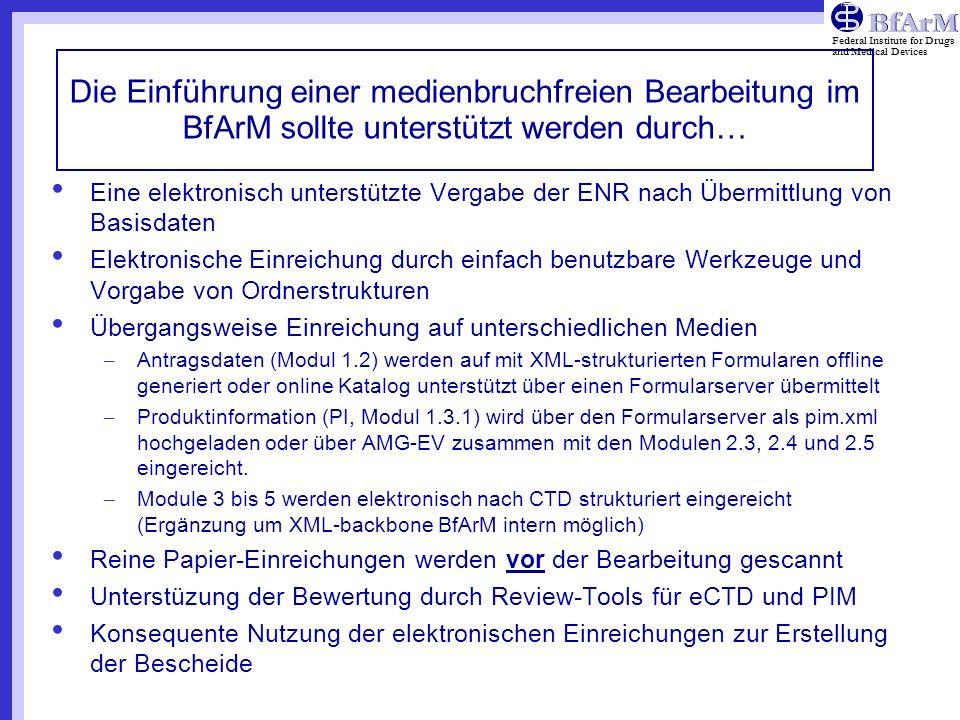 Die Einführung einer medienbruchfreien Bearbeitung im BfArM sollte unterstützt werden durch…