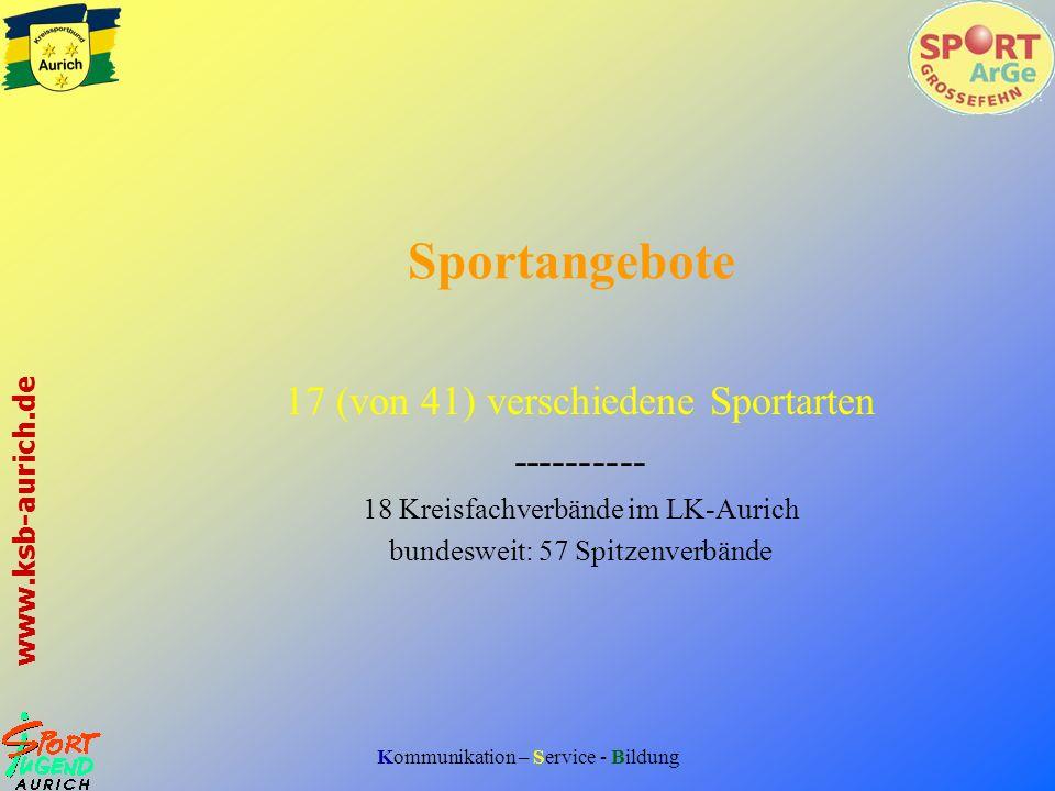 Sportangebote 17 (von 41) verschiedene Sportarten ----------