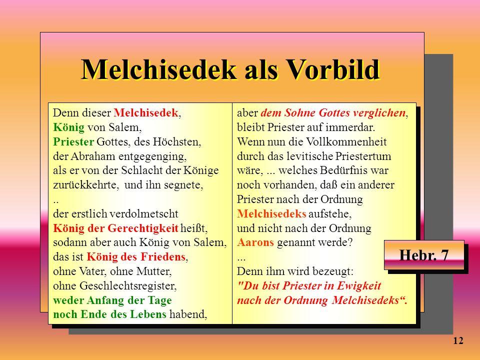 Melchisedek als Vorbild