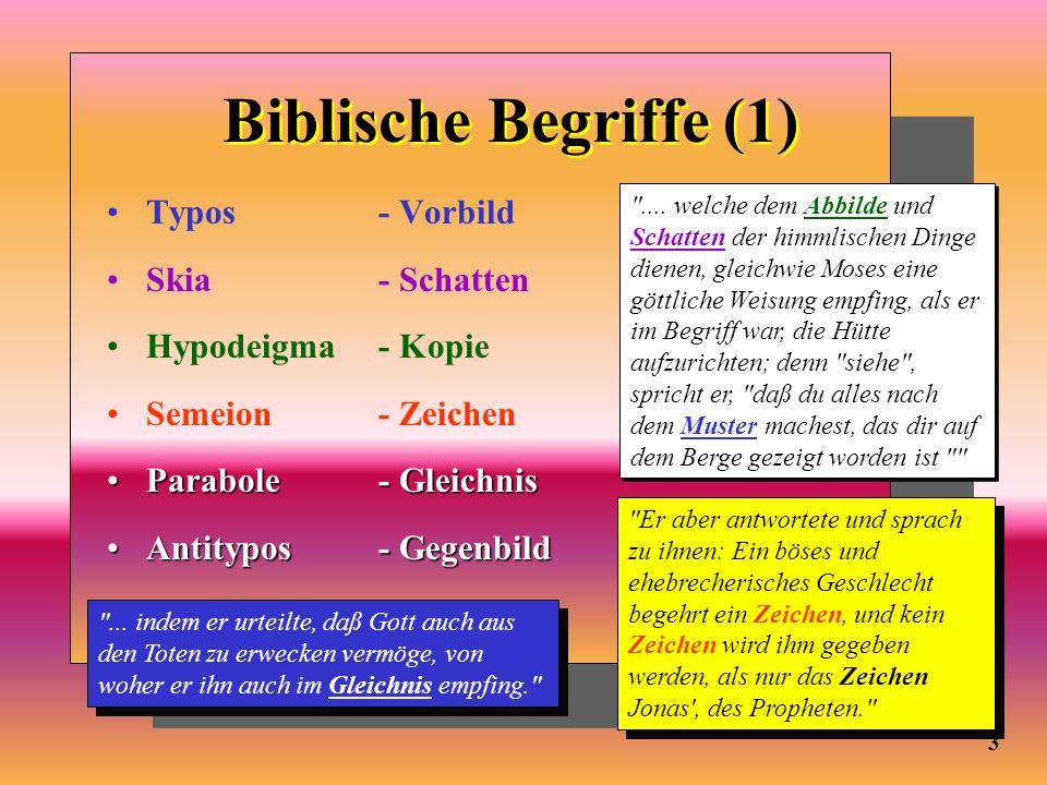 Biblische Begriffe (1) Typos - Vorbild Skia - Schatten